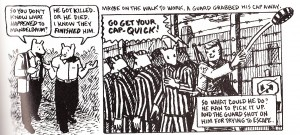Spiegelman uses thick lines and uniform lettering.