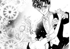 Usagi and Tuxedo Mask dancing. Notice the background images.